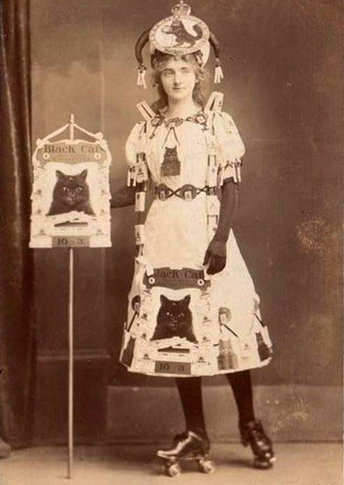 sisterwolf:  Black Cats Roller Derby Woman, C. 1800's via Retronaught