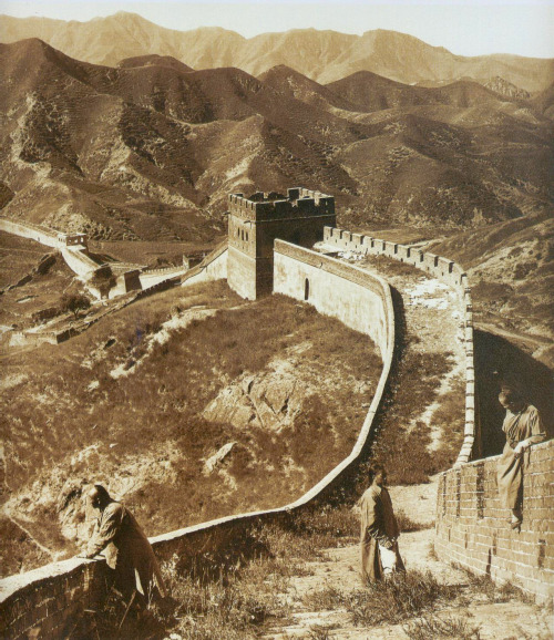 collective-history:  Photograph of the Great Wall in 1907 The Great Wall of China is a series of fortifications made of stone, brick, tamped earth, wood, and other materials, generally built along an east-to-west line across the historical northern borders of China in part to protect the Chinese Empire or its prototypical states against intrusions by various nomadic groups or military incursions by various warlike peoples or forces. Several walls were being built as early as the 7th century BC; these, later joined together and made bigger, stronger, and unified are now collectively referred to as the Great Wall. Especially famous is the wall built between 220–206 BC by the first Emperor of China, Qin Shi Huang. Little of that wall remains. Since then, the Great Wall has on and off been rebuilt, maintained, and enhanced; the majority of the existing wall was reconstructed during the Ming Dynasty. Other purposes of the Great Wall have included border controls, allowing the imposition of duties on goods transported along the Silk Road, regulation or encouragement of trade and the control of immigration and emigration. Furthermore, the defensive characteristics of the Great Wall were enhanced by the construction of watch towers, troop barracks, garrison stations, signaling capabilities through the means of smoke or fire, and the fact that the path of the Great Wall also served as a transportation corridor. via