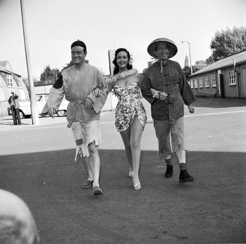 1961  Bob Hope (left), actress Dorothy Lamour and  Bing Crosby walking arm-in-arm at Shepperton Studios during the filming of 'Road to Hong Kong' by fong.laikuen on Flickr.Gone fishing….Bing dressed as a chinese fishman — stephen