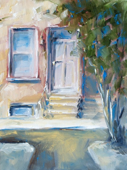 Entrance to artist's studio, oil, cotton on panel, 6 x 8 inches, 2011 SOLD