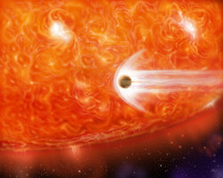 "ikenbot:  Giant Dying Star Caught Devouring Alien Planet  Image: This artist's impression shows a red giant engulfing a Jupiter-like planet as it expands. Credit: NASA  A swollen star near the end if its life has been caught devouring one of its own planets — a scenario that could one day be replayed on Earth when our own sun dies in billions of years, scientists say.  Astronomers discovered the cosmic crime scene while studying an ancient star that has expanded in its old age to became a so-called ""red giant."" The star, called BD+48 740, is older than our sun and much bigger. Its radius is 11 times larger than that of our sun.  As the star swelled into a red giant, it likely absorbed its innermost planet, researchers said.  ""A similar fate may await the inner planets in our solar system, when the sun becomes a red giant and expands all the way out to Earth's orbit some five billion years from now,"" study team member Alex Wolszczan, an astronomer at Pennsylvania State University, said in a statement. The Earth orbits the sun at a distance of about 93 million miles (150 million kilometers).  Two key pieces of evidence identified the star as a planet-killer, researchers said.  First, the astronomers found abnormally high amounts of lithium, a rare element in the universe, inside the star. That fact alone hinted that a missing planet may be involved.  ""In the case of BD+48 740, it is probable that the lithium production was triggered by a mass the size of a planet that spiraled into the star and heated it up while the star was digesting it,"" said Wolszczan, who led the team that discovered the first planets beyond our solar system, back in 1992.  Then there was the strange orbit of a giant planet discovered around the star. The huge planet is about 1.6 times as massive as Jupiter and circles the star in an extremely elliptical orbit.  ""We discovered that this planet revolves around the star in an orbit that is only slightly wider than that of Mars at its narrowest point, but is much more extended at its farthest point,"" said study team member Andrzej Niedzielski of Nicolaus Copernicus University in Torun, Poland. ""Such orbits are uncommon in planetary systems around evolved stars and, in fact, the BD+48 740 planet's orbit is the most elliptical one detected so far.""  Full Article"