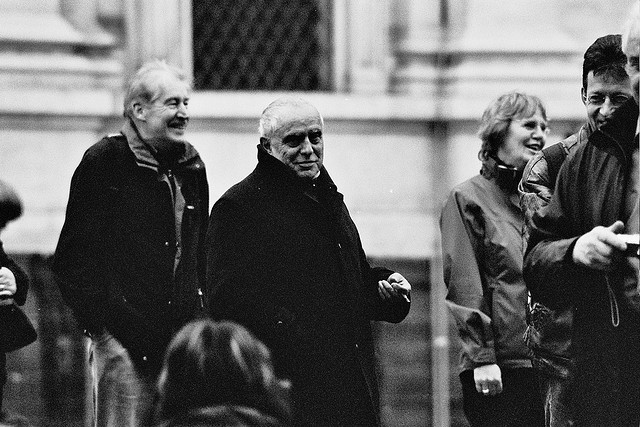 naples, piazza plebiscito, black and white candid, film, 2008.