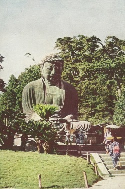 themanwiththesmirk:  Buddha statue at Kamakura, Japan National Geographic | April 1936