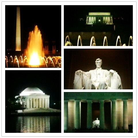 Some late night sightseeing in DC: Washington Monument from the WWII memorial, a few of the Lincoln Memorial, the Jefferson Memorial