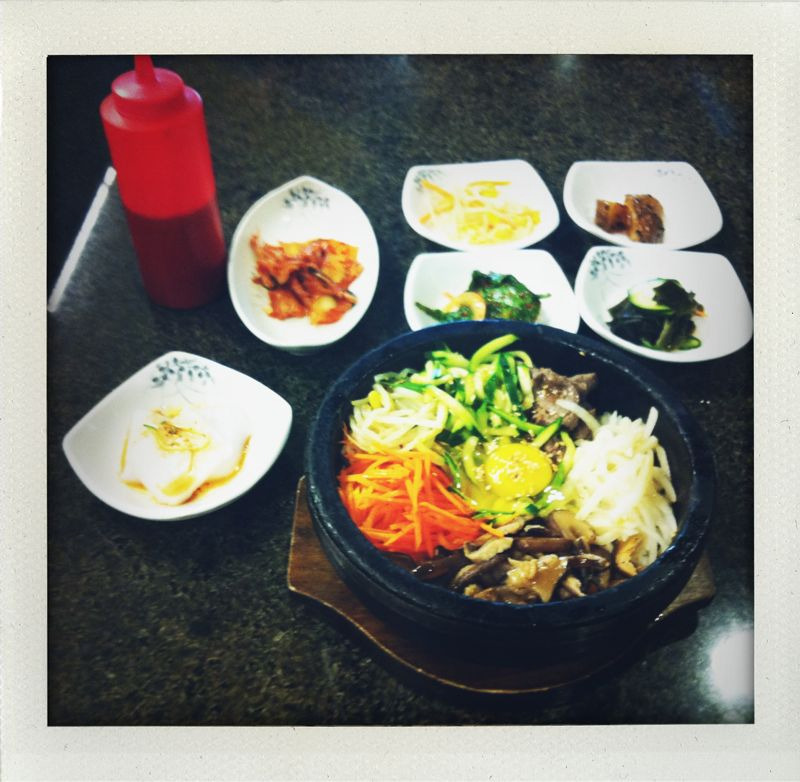 bibimbap dolsot from sokongdong bbq and tofu. i always get so excited about the stone bowl but honestly i think i just prefer the normal bibimbap. my favorite banchan was the cucumber and wakame salad. i need to learn to make namul.