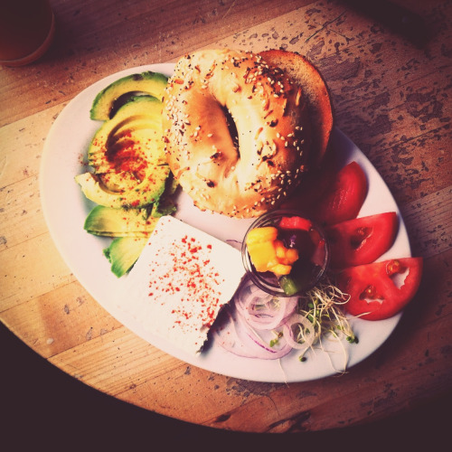 The most beautiful looking bagel ever from Cafe International in Lower Haight.