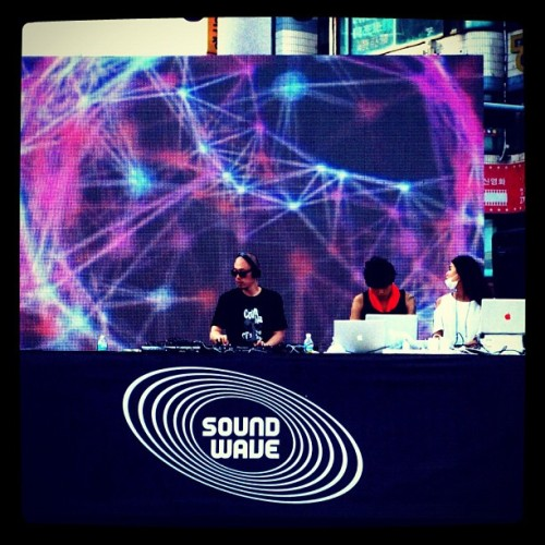 DJ S-Pill at the Soundwave Festival in Gwangalli Beach - Busan South Korea (it was a great setup with amazing sound systems and a global lineup… All staged right on the beach! But almost no one was there… Great for getting drinks at the bar, but not so good for the vibe… Check out this S-Pill mix: http://soundcloud.com/seoulunderground-com/s-pill-seoul-underground-mix (Taken with Instagram)
