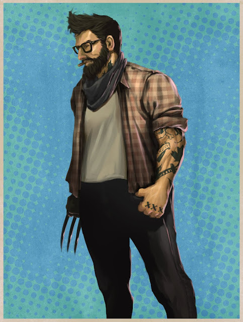 thehappysorceress:  Hipster Wolverine by Joe Kim  lol