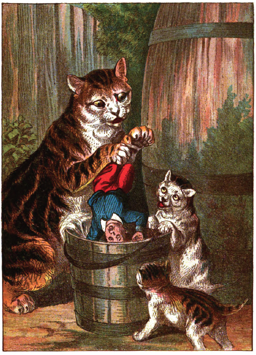 zoomar:   … for it was the same pail in which he had drowned the kittens. The cat held him by the feet, and the little kittens helped to push him in, and down he went into the cold water, and in spite of screams and struggles, shrieks and tears, Tommy was held under the water until he lost his senses.   From the Tribulations of Tommy Tiptop by M.B., 1887