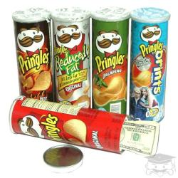 Pringles Chip can with secret stash compartment - The top of these are sealed, and the cans contain some real chips so they feel like actual Pringles cans if you pick them up or shake them around.