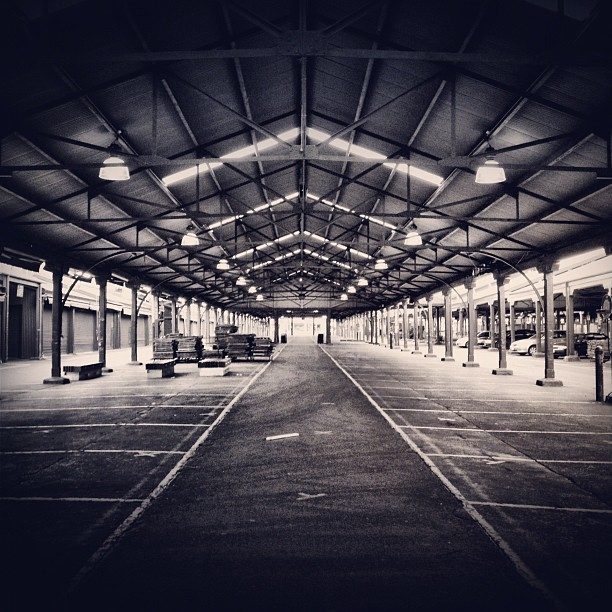 Here's a #symmetrical one of the #queen #victoria #market on one of its #closed days. #blackandwhite using the #sierra filter. #symmetry #blackwhite #blacknwhite #bnw #bw #monochrome #melbourne #igersmelbourne #vicmarket #victoriamarket #statigram #photooftheday #iphonesia #iphoneonly #iphoneography #empty #deserted #notabandoned (Taken with Instagram at Queen Victoria Market)