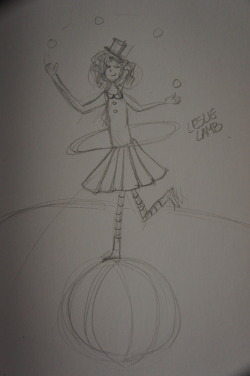 Sketch of a circus girl for one of my niece's upcoming circus themed birthday party//Leslie Lamb