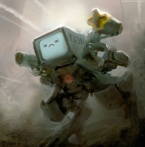 geeksngamers:  Adventure Time: Beemo Warrior - by Jonathan Tiong Buy a print at Society6 Artist's Website | Blog