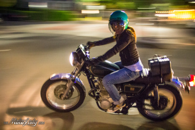 Stormie Ray leaving Tuesday Night Coffee last night on her XS 650. Photograph by yours truly, the MotoLady.