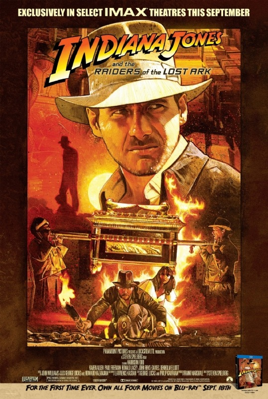 Indiana Jones and the Raiders of the Lost Ark IMAX poster.  Will you be seeing it in IMAX? How about the new Blu-ray set? I suspect we will see a lot of the 4th movie blu-rays in the second hand market since it had already been available on Blu-ray. If you haven't pre-ordered the new Blu-Ray set, it is available via Amazon: Indiana Jones: The Complete Adventures [Blu-ray] (affiliate link). (via Indiana Jones IMAX Poster | Movie Galleries | Empire)