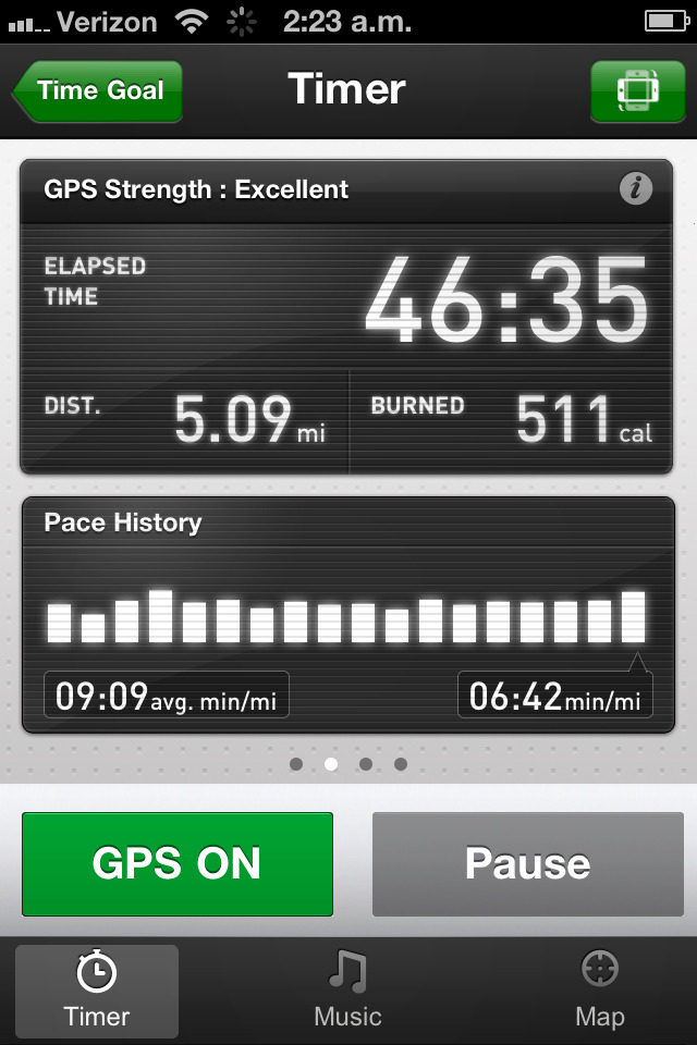 Ran 5 miles tonight, for the first time in my life. That's an accomplishment for me, and I'm quite proud of myself. I remember hating the snot out of our little 1.5 mile runs in high school. Lulz. (Look at me now 1st Sgt.!) In other news, 500 calories…? I wonder if it was gluconeogenesis, or B-oxidation that provided most of it… or if I ran my glucose stores dry, and then went to beta? I unno.