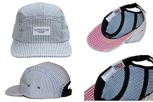 "lorenzodiggins:  Limited Edition ""The Essential Cap"" (5-panel camp cap) Made in the USA of striped Japanese denim fabric with a contrast under visor in a red/white gingham cotton fabric.  Only 50 available. You can get yours here."