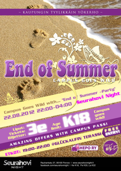 Campus Goes Wild with End Of Summer 2012 - 22/08/2012Juliste + muut mainokset