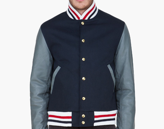 onlycoolstuff:  Thom Browne leather trim macintoch varsity jacket