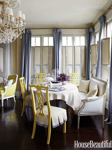 powder blue drapery for the french dining room