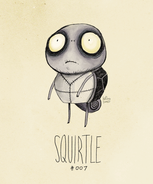 If Tim Burton designed Pokemon.     hatboy: Squirtle #007 (Tim Burton Pokemans)