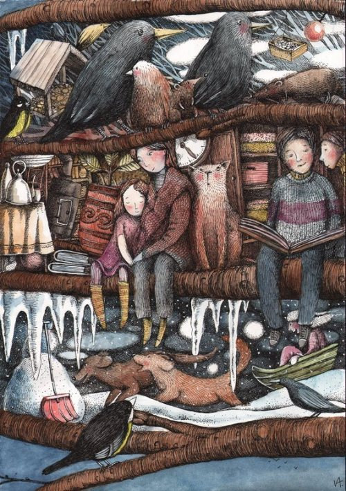 Heat of the books / Al calor de los libros (ilustración de Sasha Ivoylova) Via: desvandelecturas