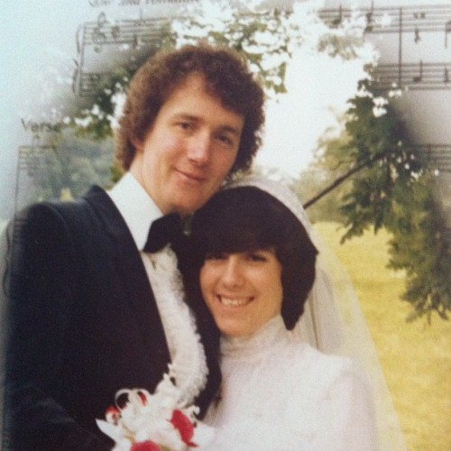mum and dad on their wedding day. what a perm! (Taken with Instagram)