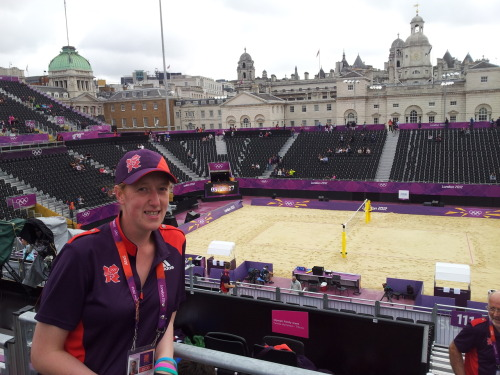 Me at the Beach Volleyball venue at Horseguards Parade.  Absolutely amazing experience!