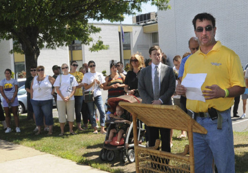 EXETER – Democrats rallied outside Wyoming Area Secondary Center on Tuesday and railed against Gov. Tom Corbett's education agenda.