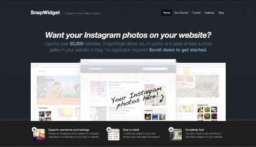 SnapWidget allows you to display your Instagram photo gallery on your website or blog using an easily customizable and embeddable widget.