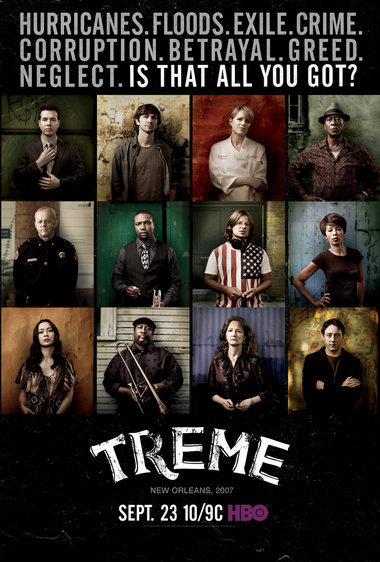 Cannot wait! Treme: Season 3 is dropping 23rd September on HBO (hopefully airing in the UK soon after). This poster reveals a new character (bottom right, a reporter played by Chris Coy) and asks 'Is that all you got?!'. Looks like more exquisite drama and music is to come from the 3 season. Check out the trailer!