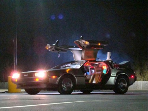 The Delorean on location during the 1985 filming of Back to the Future