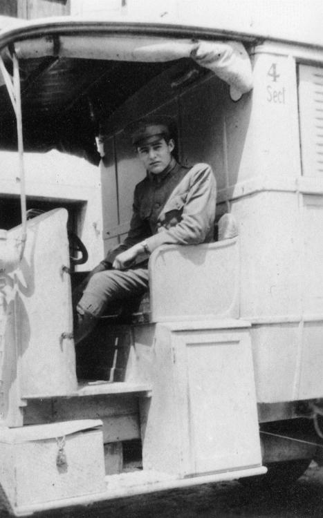 Hemingway in Italy, 1918 On August 22, 1864, The International Red Cross was founded as part of the Geneva Convention.  We found this photo of Ernest Hemingway in an American Red Cross Ambulance during World War I in Italy. Circa 1918. The American Red Cross was established in 1881. -from the Ernest Hemingway Collection of the JFK Presidential Library.  Learn more here.