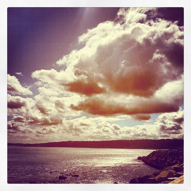 Are you going to Scarborough fair.. #Scarborough #beach #sea #clouds #sky #sun #light #beautiful #scenery #intense #rocks #nature #weather (Taken with Instagram)