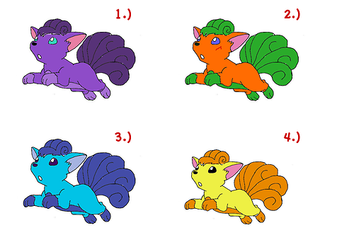 "Number 1 is a very purple puppy, really pretty/cute color, I think it might have a little psychic in her, but I'm not sure.Number 2 has some spunk. I think this one might be part grass type, and is kind of a fighter seeing as it has a scar.Number 3 is an anomaly. Ice and fire all in one. That'll freak the opponents out. This one is, however, a little shy.Number 4 is part electric. That'll givem' a shock. Sorry. Bad joke. This one enjoys contests and pokemon musicals, that kind of thing. (anon pls)    Why draw your own Pokemon for new type designs when you can use Vulpix as a paintball target? ""Stand over there, Fluffles. I'm gonna make you an Electric-type. Lemme just load in the yellow magazine."""
