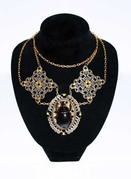 Correction  THE THIRD FEATURE on Bizarres Tumblr :-)  Scarab Necklace by Sophie Adamson Art and Accessories