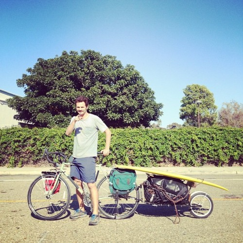 patagonia:  Surf Ambassador Dan Malloy sets out today on a six week bike tour of California. Here's his setup (Taken with Instagram)