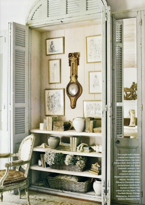 french country closet with vintage shutters