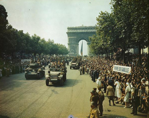 August 25, 1944:  Paris Liberated from Nazi Occupation On this day in 1944, after four years of Nazi occupation, the city of Paris was liberated by Allied forces.  During the occupation, France experienced complications related to having to house the 300,000 members of the occupying German army.  Food and resources were sparse and citizens were forced to work against their will for the German war effort. Check out this Ken Burns timeline, which outlines major events and photographs in World War II from 1939 to 1945.  Photo: Library of Congress