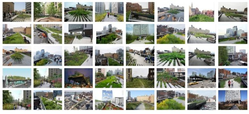"new-aesthetic:  ""High Line,"" Google Image search by Rob Walker, November 7, 2011.  From time to time, however, something from Portfolioplis does manifest in the middle (or on the fringes) of more familiar geography, some three-dimensional place where people not unlike you and me live, work, litter, and worry about getting laid off tomorrow. There's always something uncanny about these structures and spaces. They never look quite like the postcard. The surroundings, the context, are all wrong. And the citizenry suddenly seem so … specific. I find this perversely reassuring. I've visited The High Line, and frankly found it indistinguishable from Portfolioplis to a degree that unnerved me. A visitor moves through such spaces cautiously, half-expecting that it is all mirage — but wondering just the same if might contain, possibly, some kind of portal, some secret passageway to Porfolioplis itself.  Postcards from Portfoliopolis, via Tamar S."