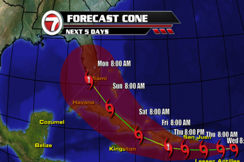 11 a.m. update: Tropical Storm Isaac is located at 15.9°N 59.3°W moving W at 21 mph with max sustained winds of 45 mph.