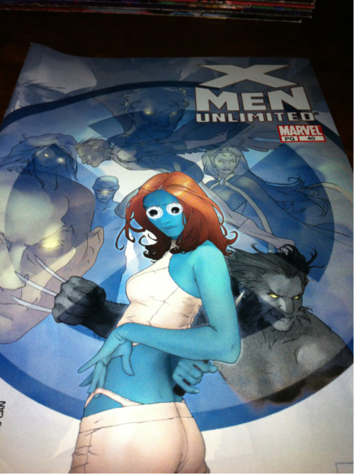Your underwear is sticking out, Mystique. Not too classy for an old lady like you.