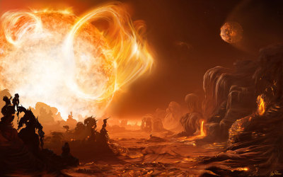 A dangerous sunrise on Gliese 876d by Inga Nielsen