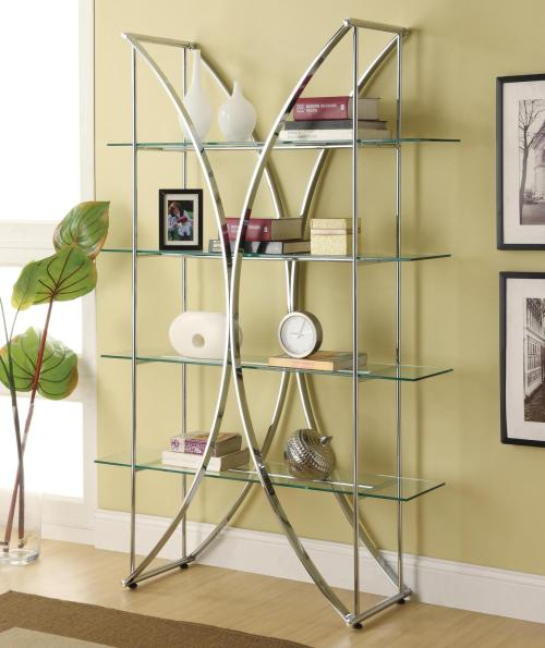 "The graceful shape of this ""X"" motif metal bookcase contributes storage with an airy, contemporary design for your home. The chrome finish over the metal frame and 5x stronger tempered glass floating style shelves make this a great piece for a living area or an office setting for only $269!"