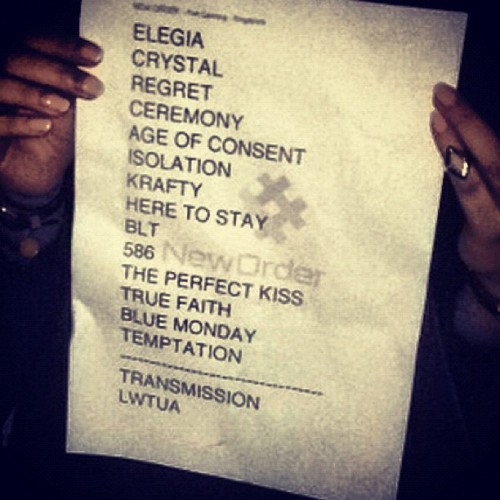 New Order Setlist Fort Canning Park, Singapore #NewOrder #JoyDivision #setlist #FortCanning #singapore #setlist  (Taken with Instagram at Fort Canning Park)