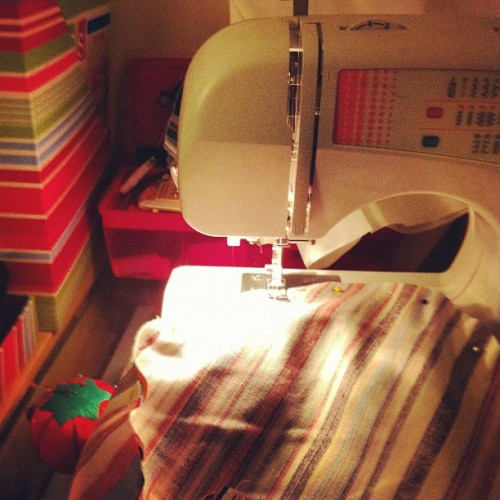 Late night #sewing, whilst listening to @triplej #bliss (Taken with Instagram)