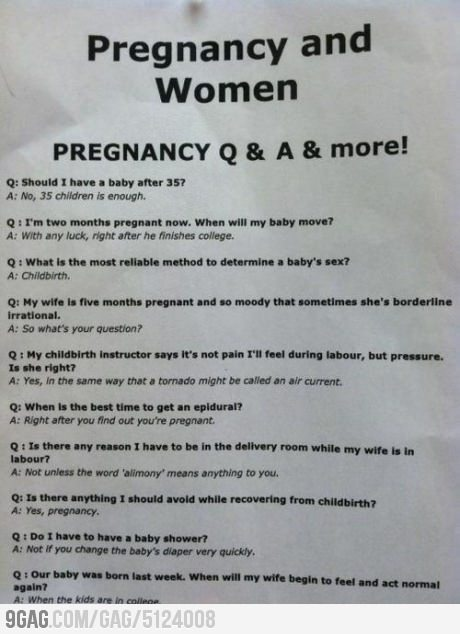 9gag:  Pregnancy Q & A & more!