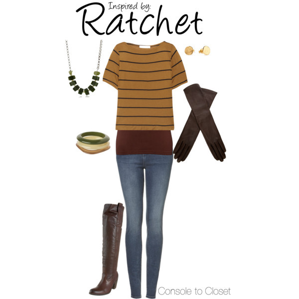 Ratchet (Ratchet & Clank) by ladysnip3r featuring scoop neck tops This outfit is inspired by Ratchet of Ratchet & Clank. I wanted to do a fall look, taking inspiration from his color palette. I chose a yellow cropped top with a dark tank underneath, paired with long leather gloves. The gloves are meant to be worn all the way up to the sleeves, kind've like a makeshift jacket for those cooler fall days. I also chose green jewelry and brown leather boots. (Reference Image) Kain striped top / Scoop neck top, $21 / Highwaisted jeans / Frye leather thigh boots / Long chain necklace / Gorjana  jewelry / Stacking bangle, $18 / AGNELLE long opera glove, $190
