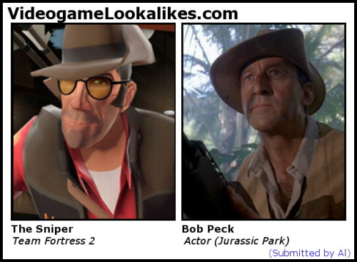 The Sniper (Team Fortress 2) looks like Bob Peck (Jurassic Park) Clever girl.