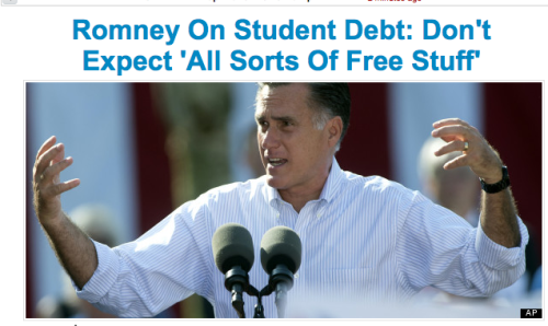 Mitt Romney says in a campaign stop he's not going to help college students out through Pell grants or increasing low cost federal student loans. Meanwhile, President Obama launched a website highlighting his student loan reform efforts. Who do you support?